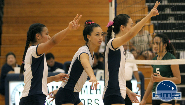 Kamehameha defeats MPI 3 - 1 in girls volleyball